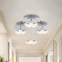 Blossom Inlaid Crystal Semi Flush Mount Modern 3 Heads Bedroom LED Close to Ceiling Light in Chrome