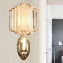 Gold Zigzag-Trim Shade Wall Sconce Postmodern Crystal 1 Head Living Room Wall Mounted Light