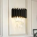 Tube-Edge Tiered Crystal Flush Mount Modern Stylish 2 Bulbs Sitting Room Wall Sconce Light in Black