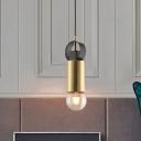 Exposed Bulb Tube Mini Pendant Light Postmodern Metallic 1 Bulb Brass Hanging Lamp Kit