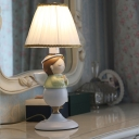 Praying Angel Girl Resin Table Lamp Kids 1 Head White Night Stand Light with Pleated Shade