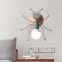 Ant Open-Bulb Wall Lamp Nordic Creative Iron Single Bedside Wall Mounted Light in Grey/White/Green with Wood Backplate