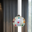 1 Head Ceiling Pendant Mediterranean Sphere Hand Cut Glass Mosaic Patterned Suspension Lamp in Bronze