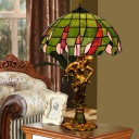 Dome Night Lighting 3-Light Stained Art Glass Victorian Pull Chain Nightstand Lamp in Bronze with Woman Base
