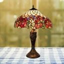 2-Bulb Night Light Tiffany Bouquet Patterned Hand Cut Glass Table Lamp in Bronze with Pull Chain