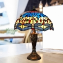 Cut Glass Dragonfly Patterned Desk Light Tiffany 2-Head Yellow and Blue/Blue and Green Pull Chain Table Lighting with Bowl Shade