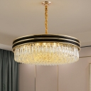 11-Light Drum Drop Pendant Simple Black and Gold Prismatic Crystal Chandelier for Dining Room