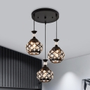 Inserted Crystal Sphere Cluster Pendant Light Modern Style 3-Head Hanging Lamp Kit in Black