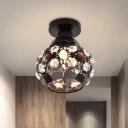Globe Hallway Ceiling Mounted Light Modernism Crystal 1 Bulb Black Flush Mount Lighting