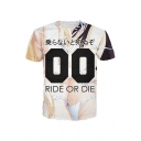 Japanese Letter Ride or Die Cartoon 3D Graphic Short Sleeve Crew Neck Regular Fit Trendy T-shirt in Beige