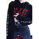 Punk Girls Letter Revenge Printed Long Sleeve Drawstring Relaxed Fit Hoodie in Black