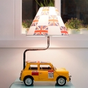 Yellow Jeep Table Lighting Kids Style 1 Bulb Resin Night Lamp with Print Fabric Shade
