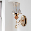 Traditional Curvy/Cone Shade Wall Lamp 1 Bulb Frosted Glass Sconce with Spikelet/Cloud/Floral Pattern in Gold