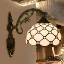 Fishscale Dome Cut Glass Sconce Light Tiffany Single Blue/Green/Gold Wall Mounted Lamp for Bedroom