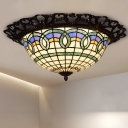 Brown Gridded Flush Ceiling Light Baroque Hand Cut Glass LED Flushmount with Floral Trim