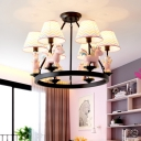 Unicorn Carousel Child Room Pendant Light Resin 6 Bulbs Kids Style Chandelier with Blue-Yellow/White Fabric Shade