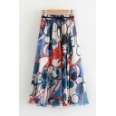 Fashionable Allover Flower Printed Bow Tie Waist Mid Pleated A-line Skirt for Women