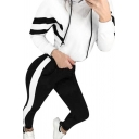 White Chevron Pattern Long Sleeve Drawstring Loose Cropped Fashion Hoodie & Contrasted Ankle Length Skinny Pants Set for Girls