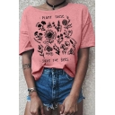 Leisure Womens Letter Plant These Floral Graphic Short Sleeve Round Neck Loose T Shirt
