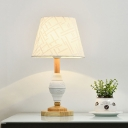 Modernism Single Night Table Light with Fabric Shade White Barrel Nightstand Lamp