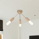 Wood Capsule Semi Mount Lighting Minimalist 3-Light Beige LED Close to Ceiling Lamp