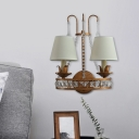 2-Bulb Wall Light Fixture Rural Conical Fabric Sconce Lamp in Rust with Crystal Ornament