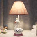 Kids Style Swan Table Light Resin 1 Bulb Girl Bedside Nightstand Lamp in White and Pink