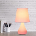 Tapered Shade Fabric Table Lamp Macaron Single Pink/Blue Nightstand Light with Ceramic Vase Base