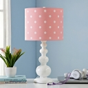 Resin Gourd Table Light Macaron 1 Bulb Pink/Blue and White Night Stand Lamp with Dots/Stripe Fabric Shade