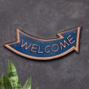 WELCOME Arrow Signboard Wall Light Vintage Metal Blue LED Night Lamp for Home Decor