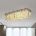 Strip Crystal Clear Ceiling Fixture Cuboidal 10-Light Minimalist Flush Mounted Lamp