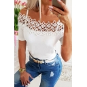 Pretty Ladies Solid Color Floral Lace Patched Short Sleeve Cold Shoulder Slim Fit T Shirt