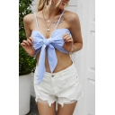 Stylish Ladies Stripe Printed Spaghetti Straps Bow Tie Front Slim Fit Super Crop Cami Top in Blue
