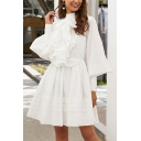 Vintage Girls Blouson Sleeve Mock Neck Ruffled Trim Pleated Mid A-line Dress in White