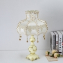 1 Bulb Table Lamp Countryside Faux-Braided Detailing Dress Fabric Nightstand Light in Beige
