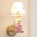Kids Conical Fabric Wall Lamp Single Bulb Sconce Light Fixture with Cartoon Horse Arm in Pink/Blue