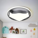 Geometric Flush Mount Light Kids Acrylic LED Bedroom Ceiling Mounted Fixture in Black/Grey