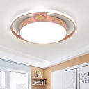 Kids Halo Ceiling Flush Mount Acrylic LED Bedroom Flushmount with Wood Star Decor in Grey/White/Pink