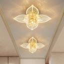 Floral Entry Flushmount Lighting Contemporary Crystal LED White Flush Mount Light in Warm/White/Multi Color Light