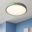 White/Grey/Green Round Flush Lamp Macaron LED Acrylic Ceiling Mounted Light with Headband Deco
