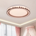 Acrylic Circle Flush Mount Fixture Modernist White/Gold/Coffee LED Flushmount Light for Bedroom