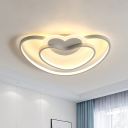 Dual Loving Heart Frame Flushmount Nordic Acrylic LED Bedroom Flush Mount Ceiling Light in White/Pink/Blue