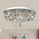 Modern U-Shaped Ceiling Lamp 8 Heads Clear Crystal Flush Mount Light for Living Room