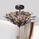 Bell Amber Glass Semi Flush Modernist 2 Lights Bedroom Flush Light in Black with Branch Crystal Accent