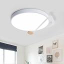 Acrylic Rhythm Noting Round Flush Light Macaron White/Grey/Green LED Flush Mount Ceiling Lighting Fixture
