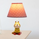 Painted Fox Table Lamp Cartoon Resin 1 Head Kids Bedside Night Stand Light with Red/Yellow Cone Fabric Shade