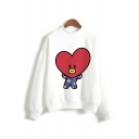 Lovely Girls Cartoon Printed Long Sleeve Mock Neck Relaxed Pullover Sweatshirt in White