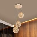 3/8-Head Ball Cluster Pendant Light Modern Gold Crystal Encrusted Hanging Lamp for Bedroom