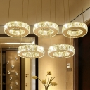 Ring Dining Room Ceiling Light Modern Clear Crystal 3/5 Bulbs Chrome Cluster Pendant