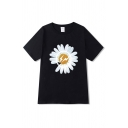 Single Daisy Flower Print Short Sleeve Crew Neck Loose Fancy Tee Top for Men
